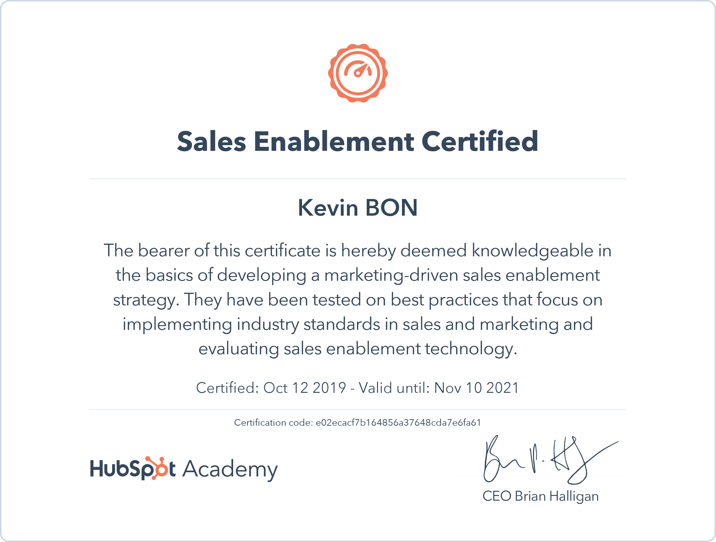 Certification - Sales Enablement
