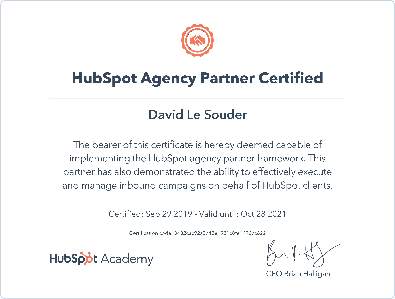 certificat agence partner inbound Hubspot
