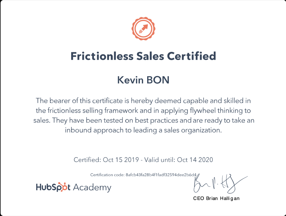 Certification - Frictionless Sales